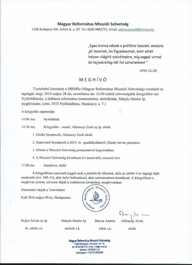 Közgyűlési meghívó 2016 05 28.